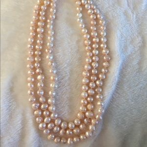 Jewelry - Three String Pale Pink Faux Pearls EUC